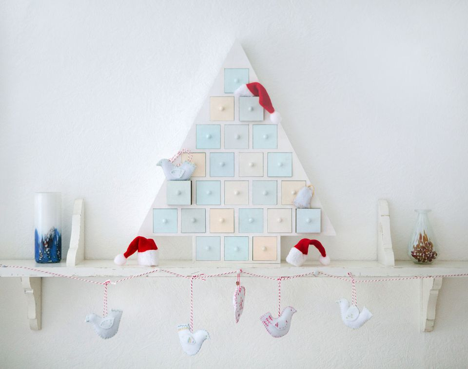 Christmas decorations on a shelf