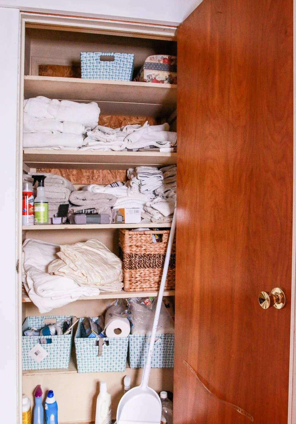 cluttered linen closet