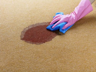 Gloved hand cleaning a wet spot on floor