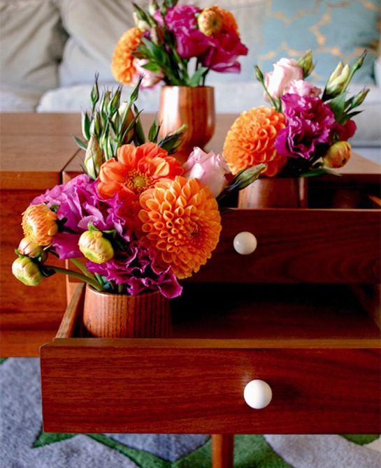 Flores en canastas
