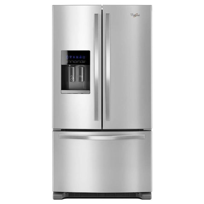 The Whirlpool 24.7 cu. ft. French Door Refrigerator has an exterior ice and water dispenser at your disposal.