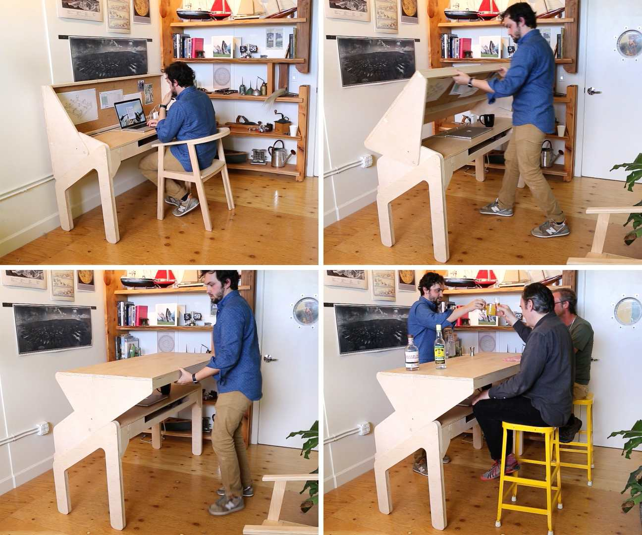 A small desk that turns into a bar