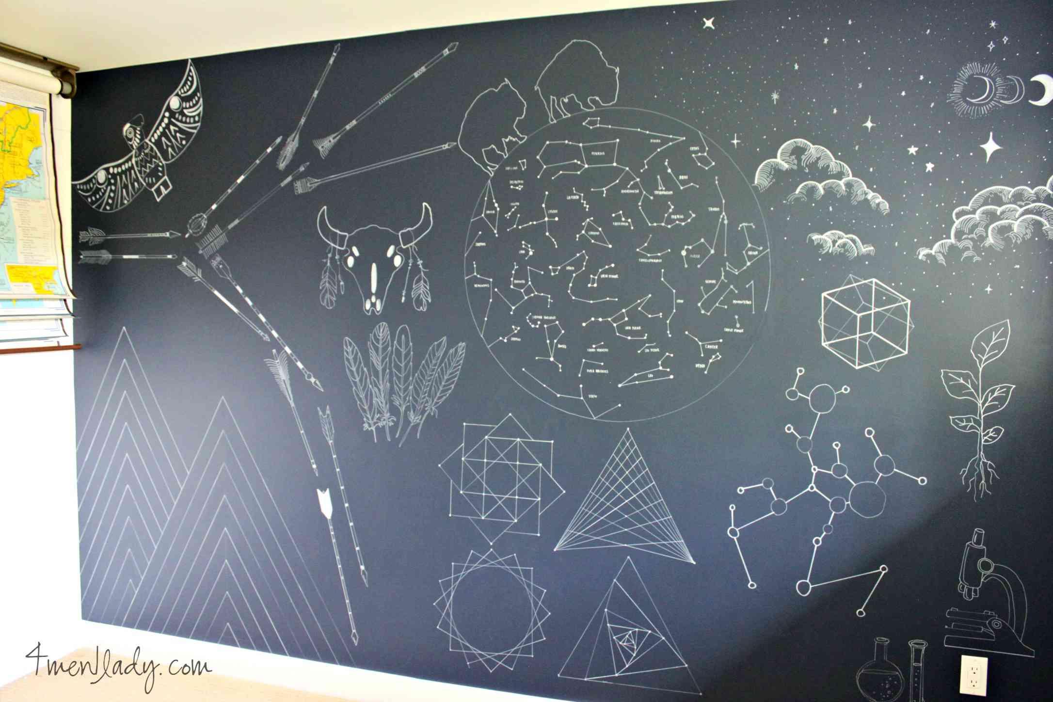 Sharpie art wall para cuarto de niños