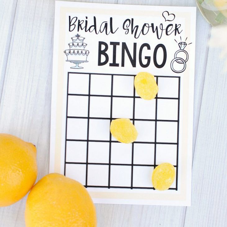 a bridal shower bingo card with lemons