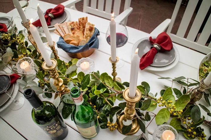 Fall tablescape with found leaf centerpiece