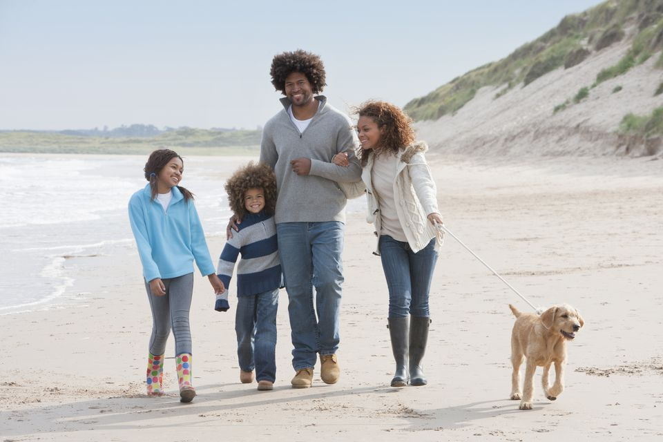 A family walking along a winter beach