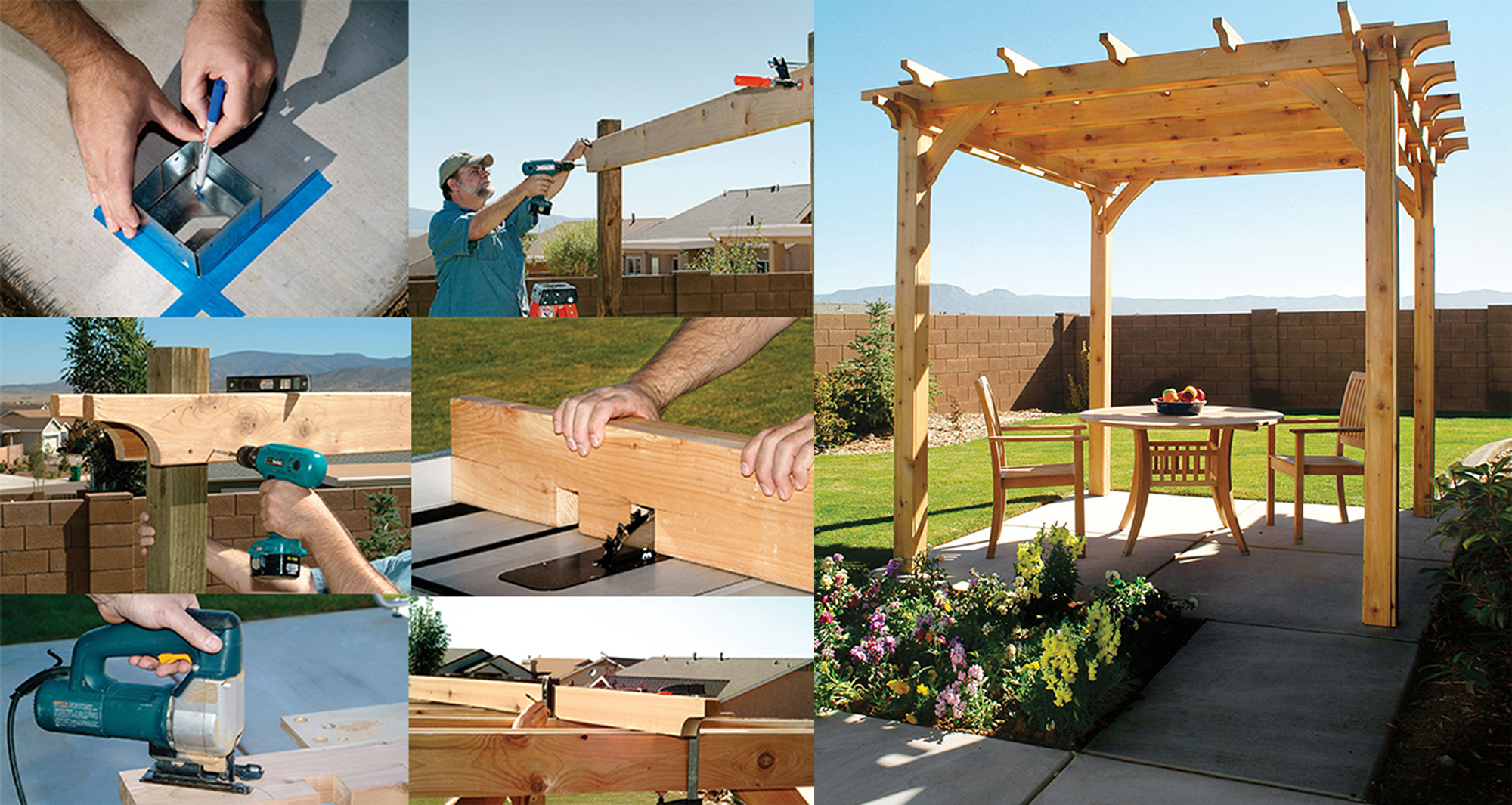 Picture of a pergola being built.