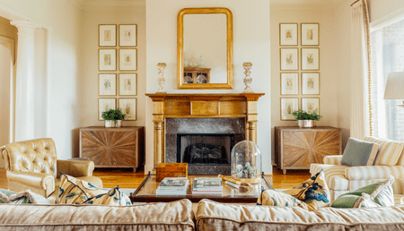 Traditional Living Room With Gilt Mirror Cameron Mobley Interior Design