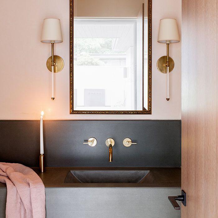 Polished concrete bathroom backsplash
