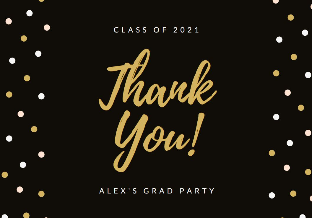 A black, white, and gold thank you card
