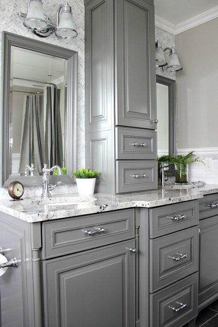 Custom Gray Cabinet. Gray and silver bathroom