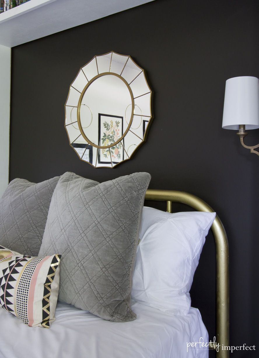 Sherwin Williams peppercorn used as accent wall in bedroom