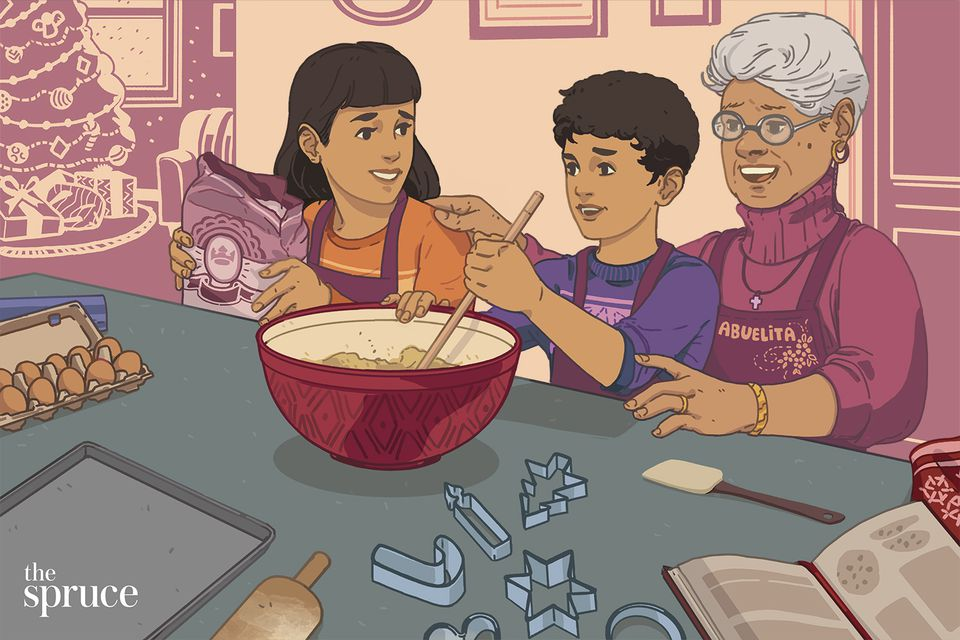 illustration of a family baking together