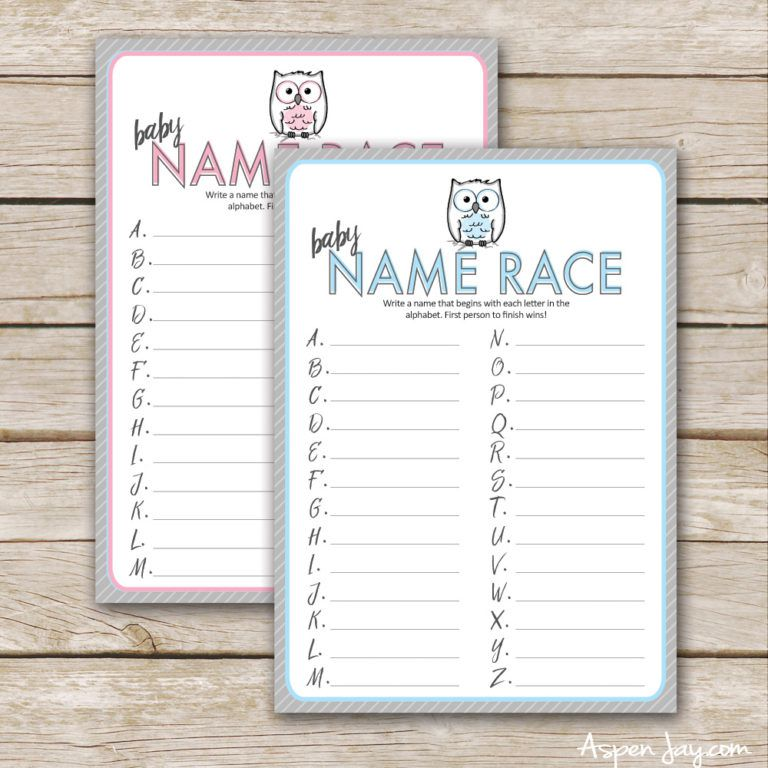 Blue and pink baby name race sheets