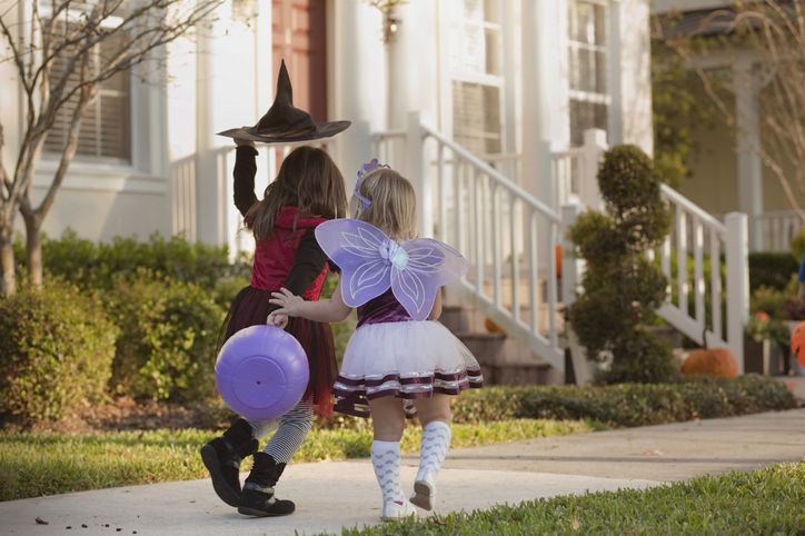 Girls going trick or treating
