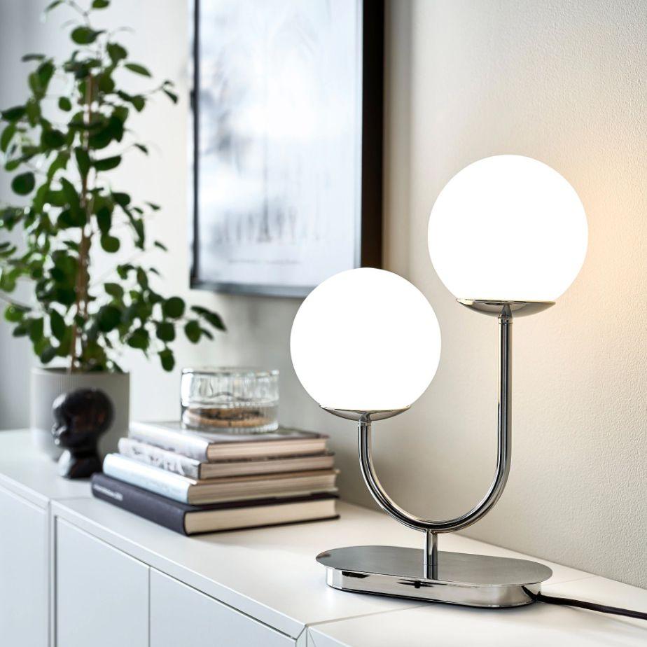 SIMRISHAMN Table lamp with LED bulb, chrome plated/opal glass