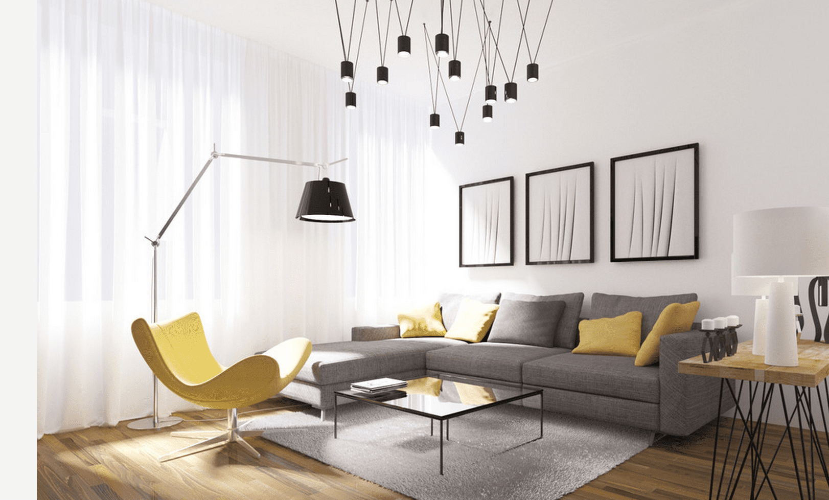 Modern living room with unique light fixture