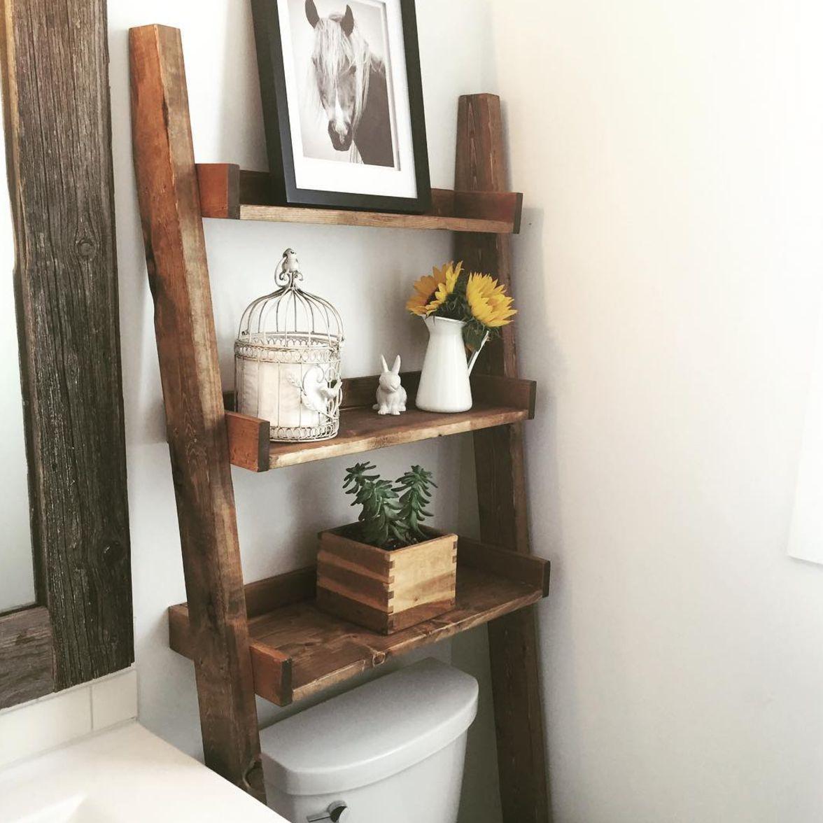 17 Small Bathroom Shelf Ideas, Wood Shelves Bathroom