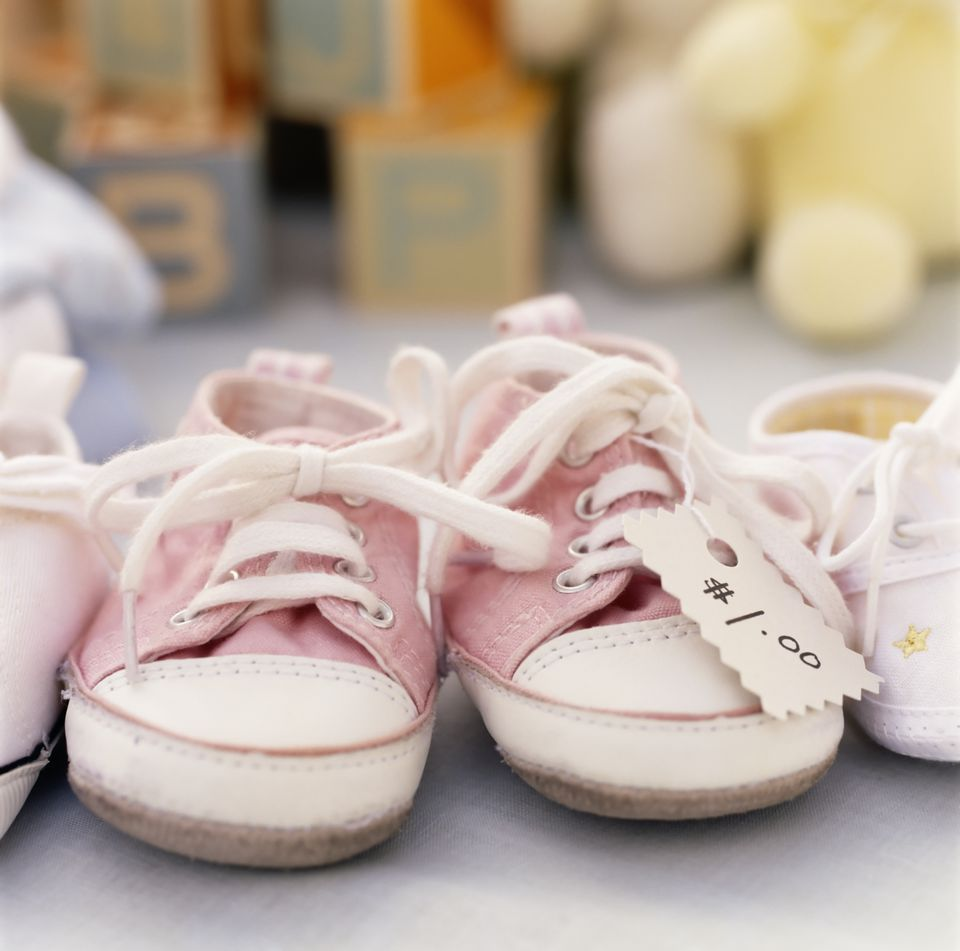 Close up of baby shoes for sale