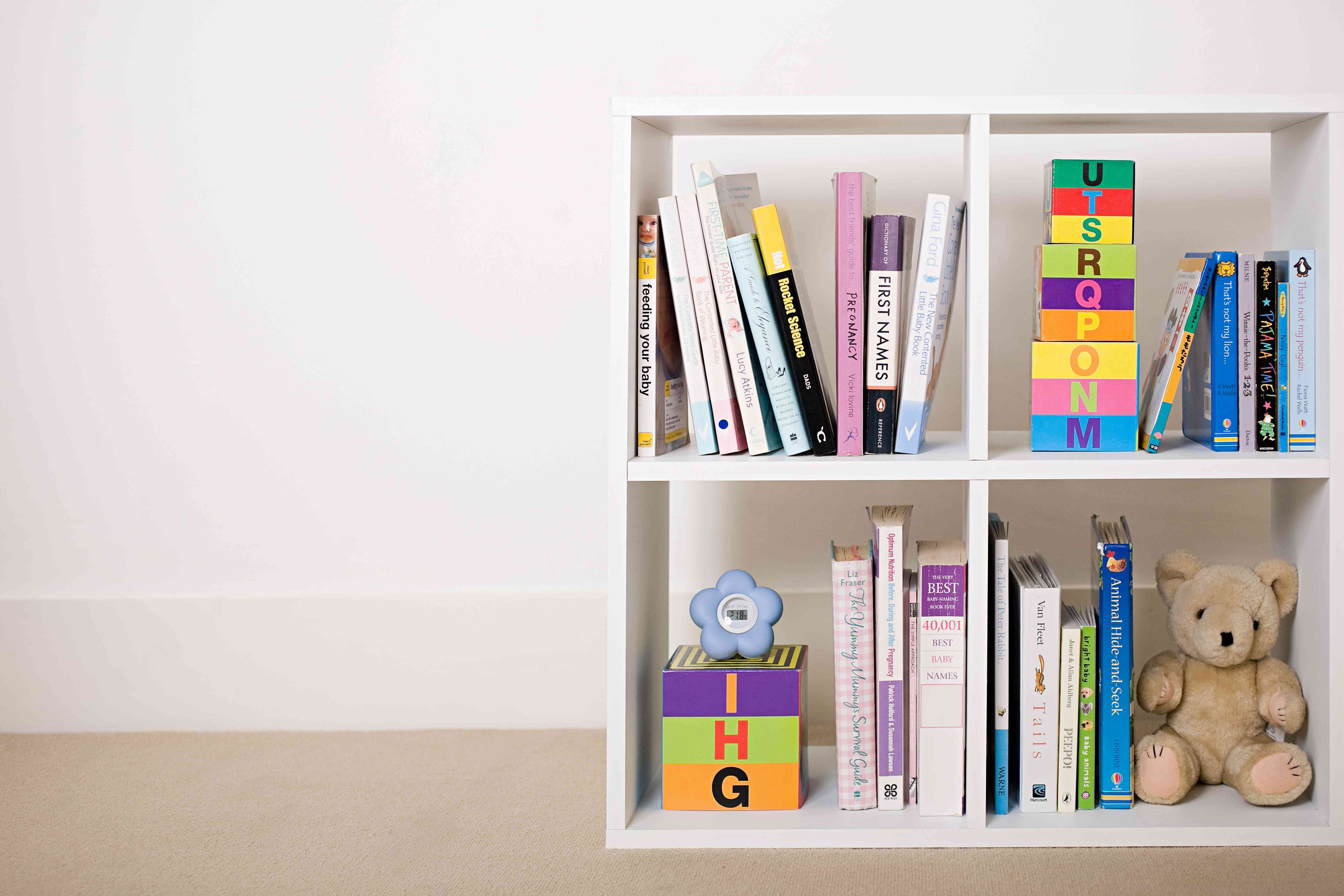 Book shelves with books and toys