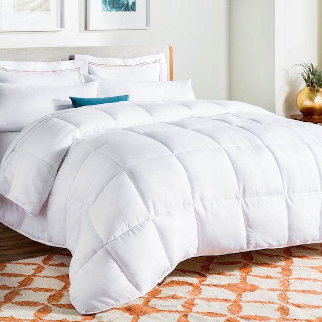 Linenspa White Goose Down Alternative Comforter with Duvet Tabs, Queen