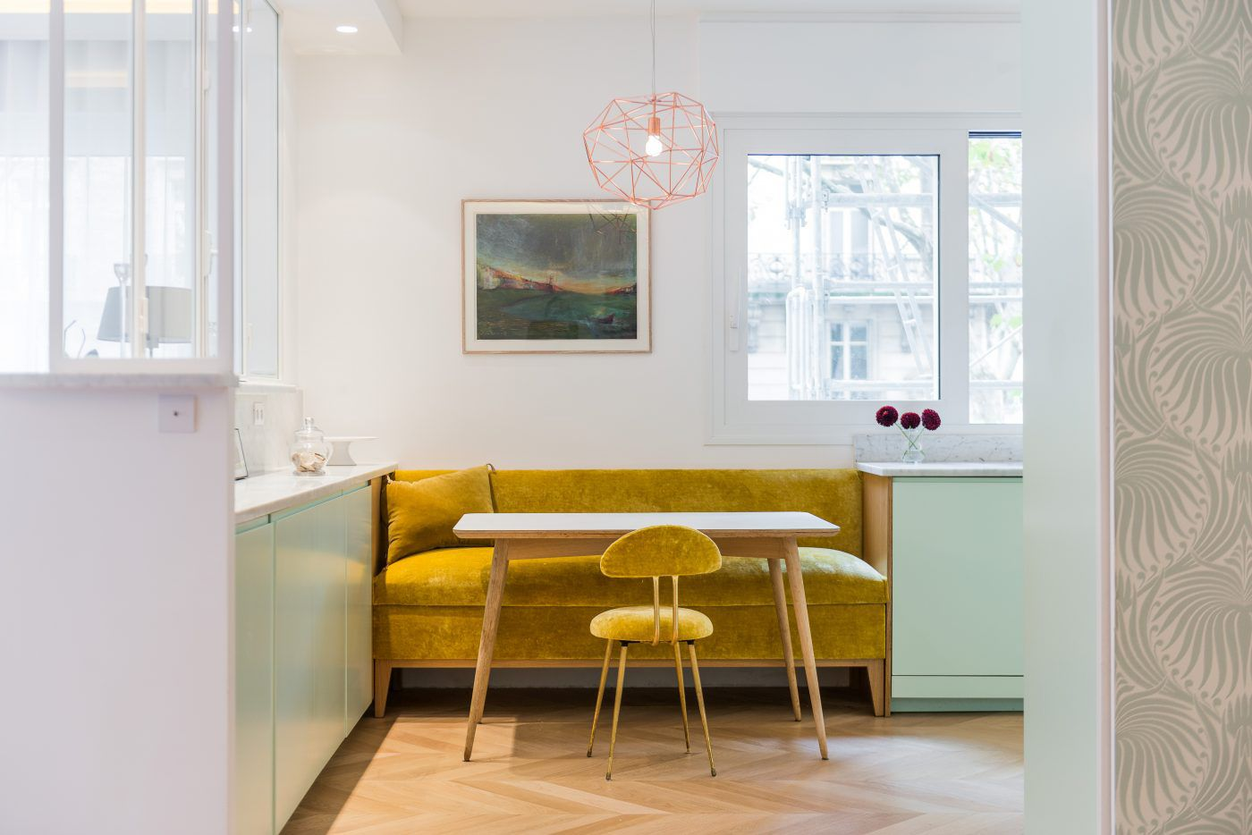 Mustard and mint green kitchen