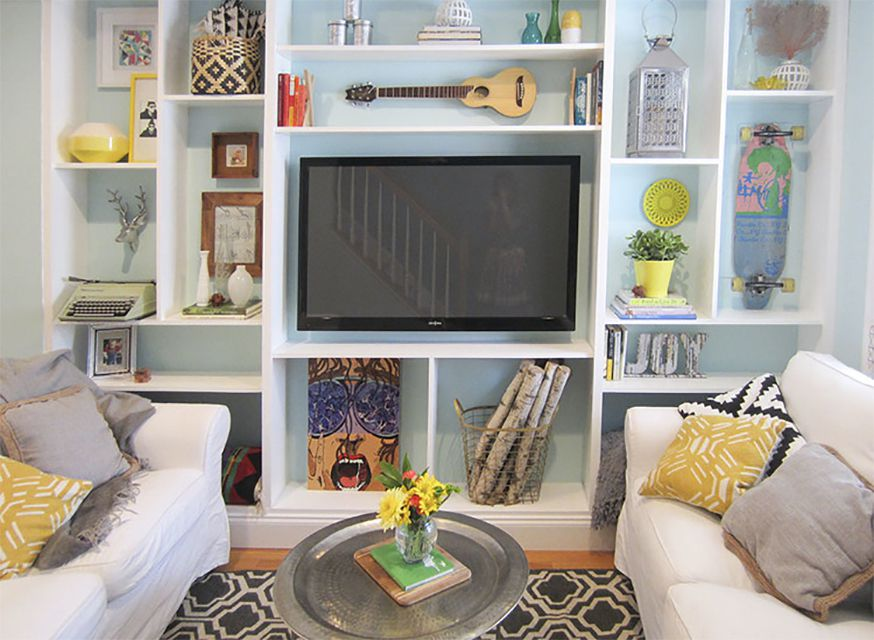 A TV with built-in bookshelves