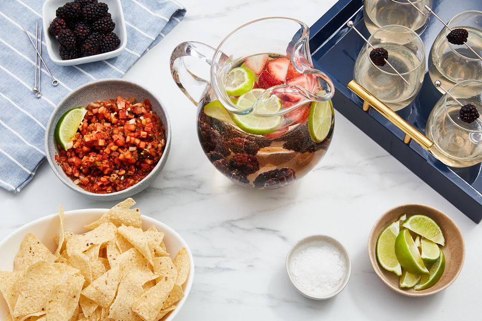 Party snacks and alcoholic drinks