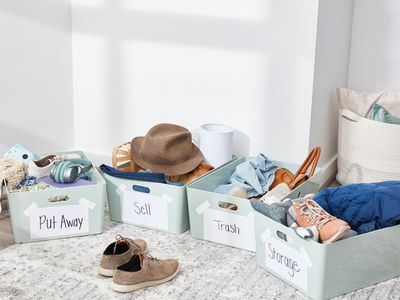 Organizing clutter into 4 containers