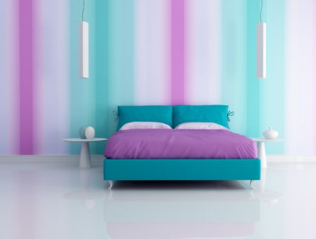 Modern Bedroom With Shades Of Blue Green And Purple