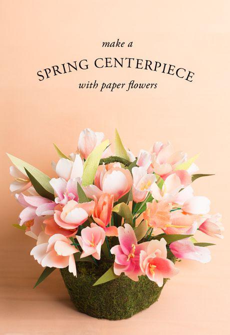 Centro de mesa de primavera de flores de papel
