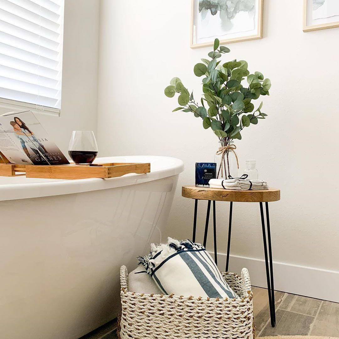Bathroom with a basket