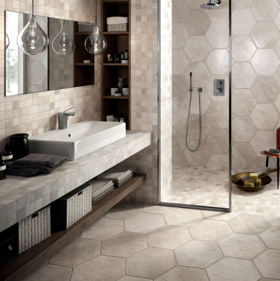 Great Bathroom Tile Ideas - 10 inch hexagon tile