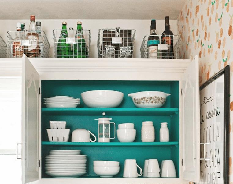 Above-cabinet storage baskets