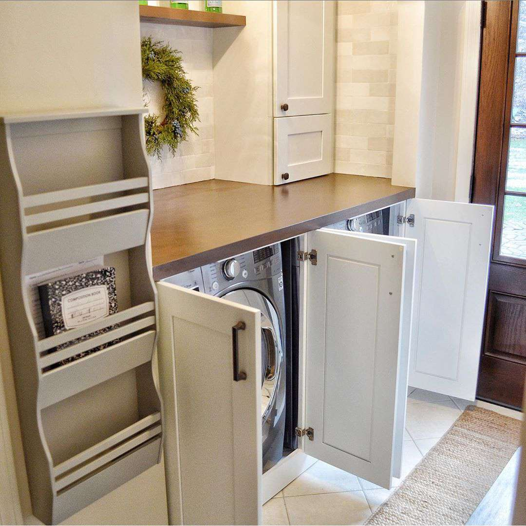 Washer dryer in cabinets
