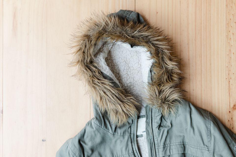 Faux fur trim on a coat