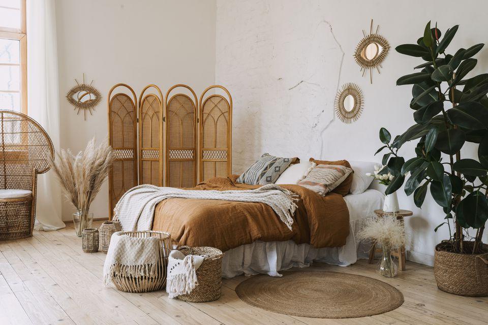 A messy boho style bedroom