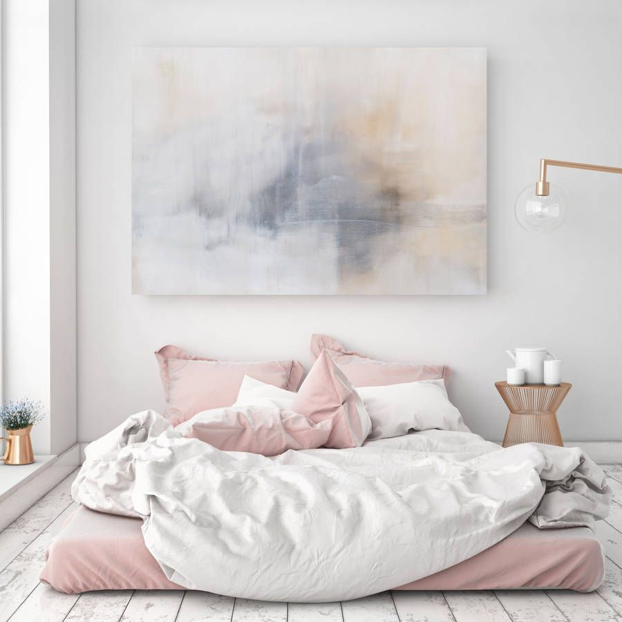 Bedroom with large painting on wall